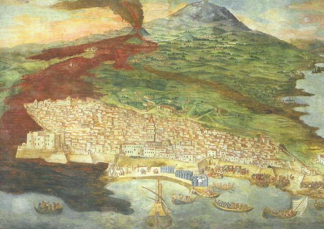 L'eruzione del 1669 in uno storico affresco di Giacinto Platania: sulla sinistra, il castello Ursino circondato dalla lava