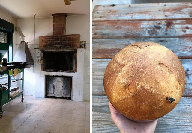 La bocca del forno Santa Rita e un panettone artigianale creato dal fornaio Maurizio Spinello