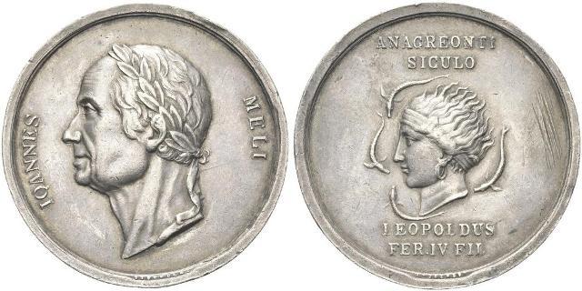 Medaglia in argento del 1815 coniata a Palermo in omaggio a Giovanni Meli (opera di Franz Stuckaert)