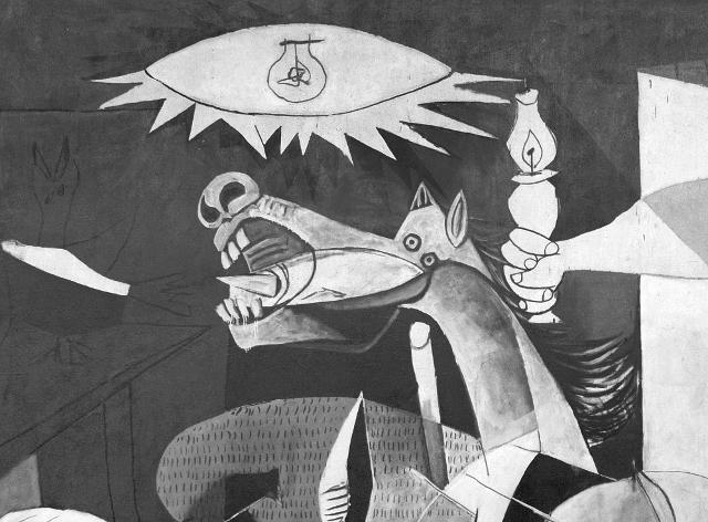 La testa del cavallo di Guernica, dipinto del 1937 di Pablo Picasso