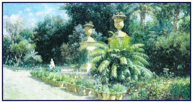 L'ingresso al Viale delle Palme dell'Orto Botanico di Palermo in un dipinto di Francesco Lojacono