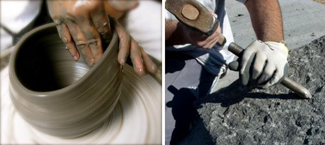 Lavorazione dell'argilla e della pietra lavica