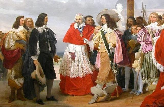 Luigi XIII di Francia con il suo ministro il cardinale Richelieu e altri personaggi