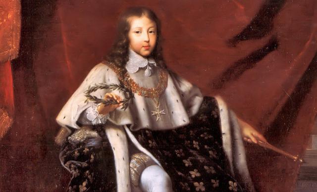 Luigi XIV negli abiti dell'incoronazione nel 1648, all'età di 10 anni