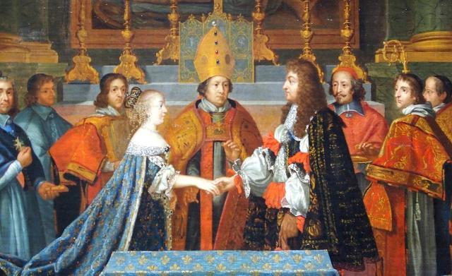 Matrimonio di Luigi XIV e l'Infanta di Spagna Maria Teresa d'Austria (a destra è raffigurato il cardinale Mazzarino)