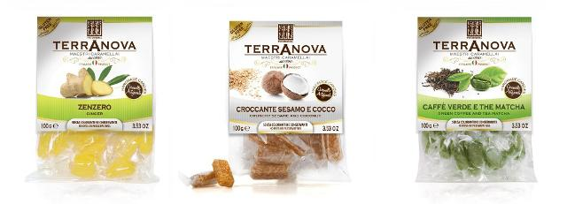 Alcune nuove caramelle Terranova: Zenzero, Croccante Sesamo e Cocco, Caffè Verde e The Matcha