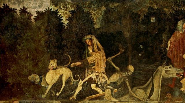 Lo scenario in cui si svolge il Trionfo della Morte è quello di una fitta selva che insinua il suo rigoglioso fogliame dietro ogni figura...