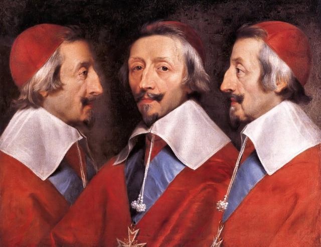 Triplo ritratto del capo di Richelieu, dipinto da Philippe de Champaigne