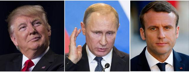Donald Trump, Vladimir Putin, Emmanuel Macron