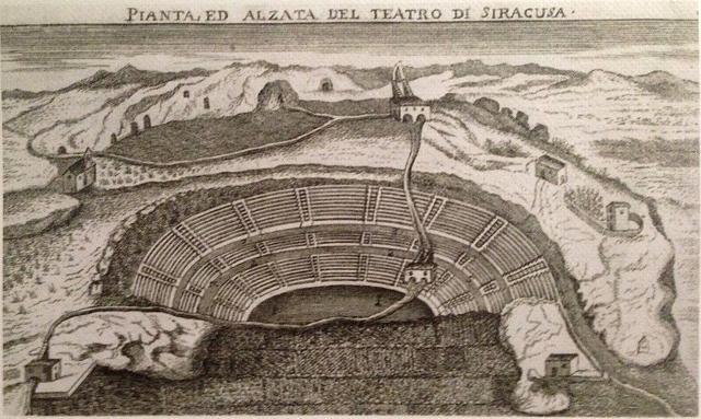 Il percorso dell'acquedotto Galermi, fin attraverso il teatro antico di Siracusa, in una stampa del 1761 - ph Davide Mauro