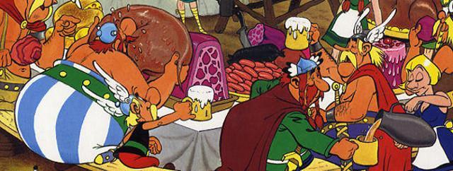 Un lauto banchetto innaffiato di birra tra i Galli di Asterix e Obelix