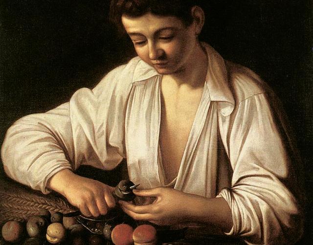 """""""Ragazzo che monda un frutto"""", Caravaggio"""