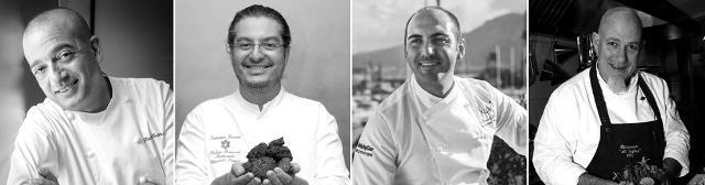 Gli chef Pino Cuttaia, Damiano Ferraro, Gioacchino Gaglio e Angelo Treno