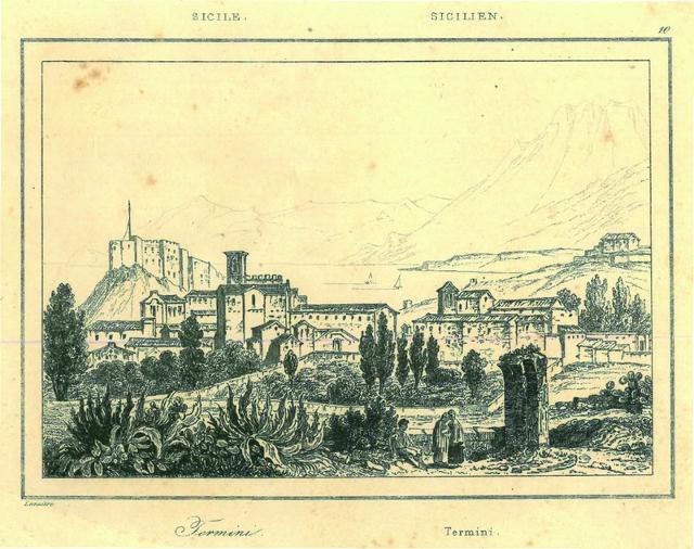 """""""Termini"""". Incisione,1835. In Artaud, L'Univers, Histoire et description de tous les peuples. Italie. Parigi 1835. - Collezione Francesco La Mantia. Ph. A.F. Lemaitre"""
