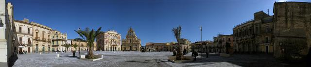 La piazza principale di Grammichele, a pianta esagonale