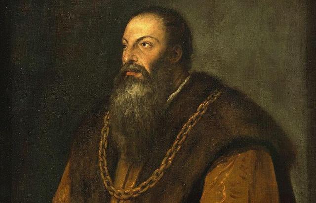 Pietro Aretino in un ritratto di Tiziano (1548 circa)
