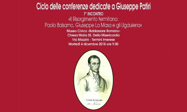 7° e ultimo incontro, per il 2018, del Ciclo delle conferenze dedicate a Giuseppe Patiri