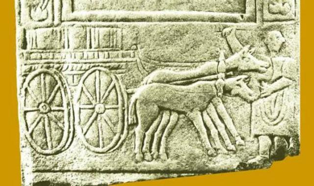 Trasporto di birra e vino in una stele funeraria romana, I sec. d.C.