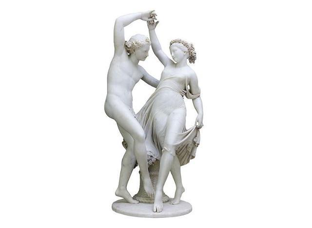 """""""Zefiro e la ninfa Cloride"""", Valerio Villareale (1773-1854) o ambito di, marmo bianco - Grand Hotel Des Palmes di Palermo"""