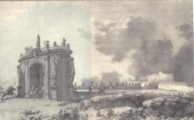 Veduta di Villa palagonia e del suo viale, ed arco della SS. Trinità in un disegno di Jean-Pierre Houel