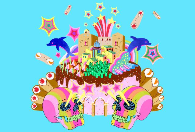 """""""Ho usato la forma di una torta, ricorrente nelle mie opere, per rappresentare sia l'elemento del palco su cui gli artisti si esibiscono, sia l'isola della Sicilia..."""""""