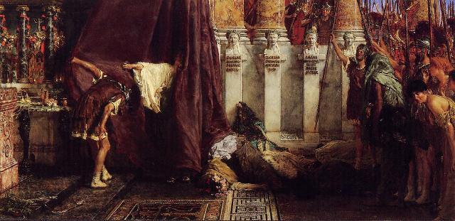 """Ave, Caesar! Io, Saturnalia!"" di Sir Lawrence Alma-Tadema, olio ssu tela (1880) - Akron Art Museum, USA"