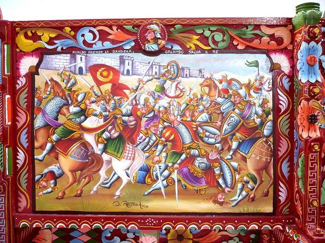 Sponda di carretto Siciliano dipinta alla catanese - ph Ragnettopaladino