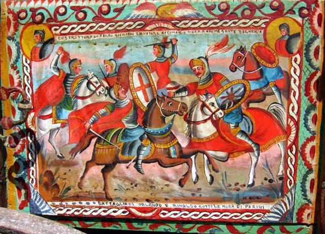 Sponda di Carretto Siciliano dipinta alla palermitana