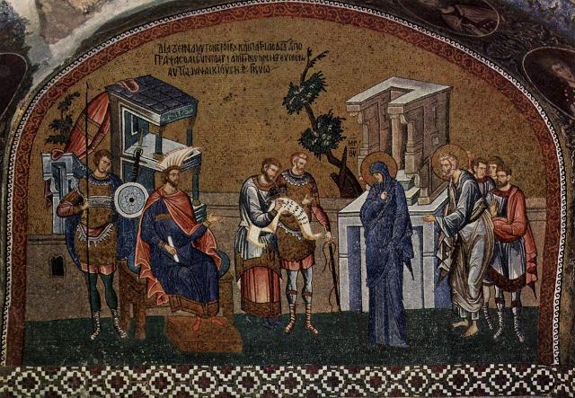 """""""Maria e Giuseppe si presentano a Quirinio per il censimento"""". Istanbul, mosaico bizantino, circa 1315-1320."""
