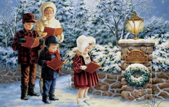 I bambini felici intonano canti natalizi...