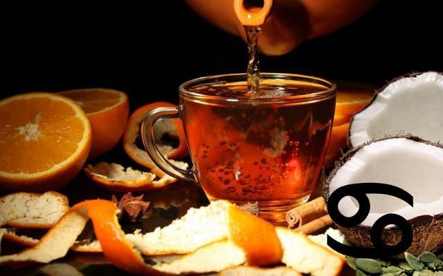 Per i nati sotto il segno del Cancro la scelta cade su di un infuso al gusto di arancia e cocco