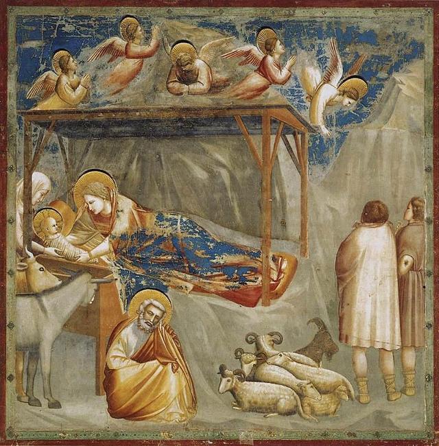 """""""Nascita di Gesù"""" Giotto (Affresco, 1303-1305 circa, Cappella degli Scrovegni, Padova)"""