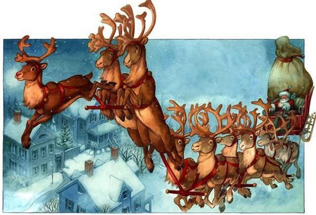 Le otto renne si chiamano Comet, Dancer, Dasher, Prancer, Vixen, Donder, Blitzen, Cupid...