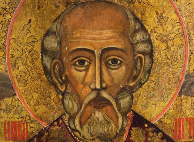 Particolare di un'icona russa raffigurante San Nicola di Myra