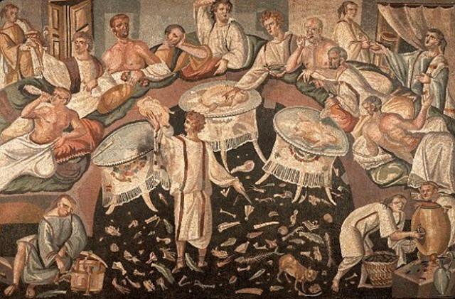 Affresco romano che raffigura un banchetto per le Saturnali