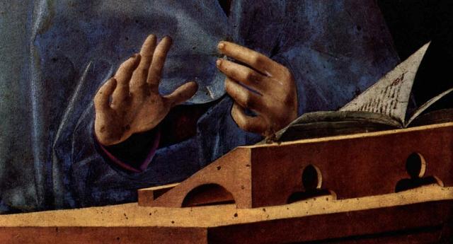 Il dettaglio delle mani e del leggìo dell'Annunciata di Antonello da Messina
