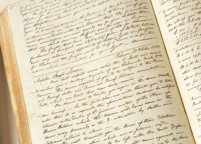 Uno dei registri contabili dell'archivio Ingham-Whitaker conservato nelle Cantine Pellegrino di Marsala
