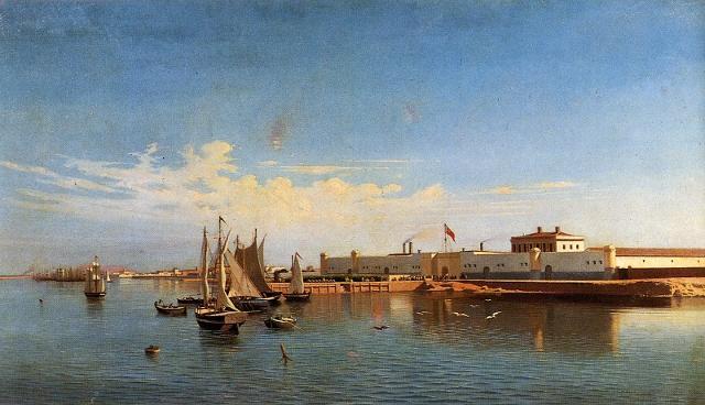 Dipinto del porto di Marsala verso il 1850. Sui Bagli di Woodhouse (altra famiglia inglese del Vino Marsala) e Ingham sventola la bandiera britannica