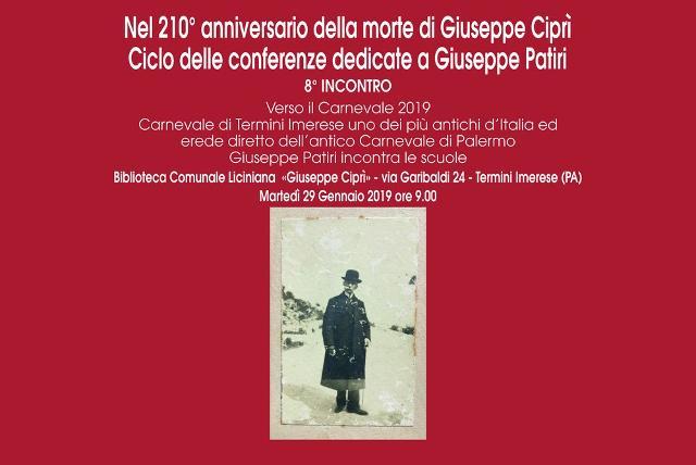 Dedicato a Giuseppe Ciprì il primo incontro del 2019 del Ciclo delle conferenze dedicate a Giuseppe Patiri