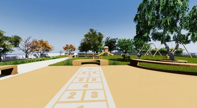 Una parte della pavimentazione sarà riservata ai giochi di una volta per avvicinare i bambini agli anziani.