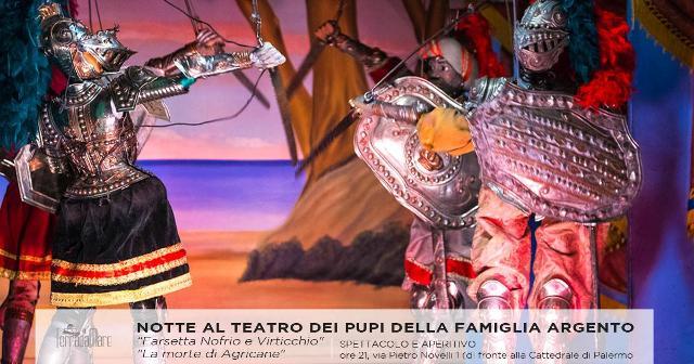 Notte al Teatro dei Pupi Argento. Spettacolo e Aperitivo