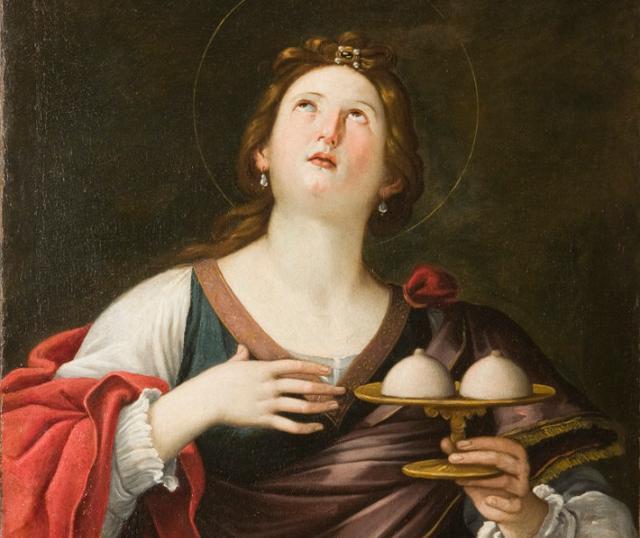 Dipinto di Sant'Agata che porta il proprio seno in un vassoio