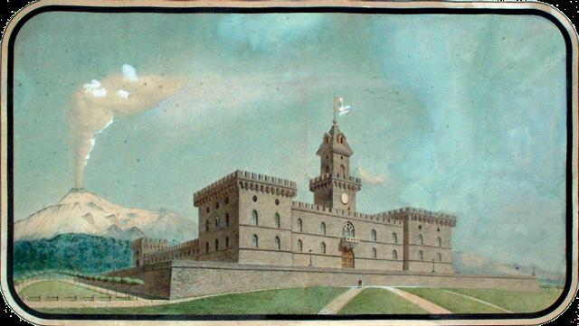 Illustrazione del Castello di Solicchiata visto da Sud (dipinto di Michele Rapisardi)