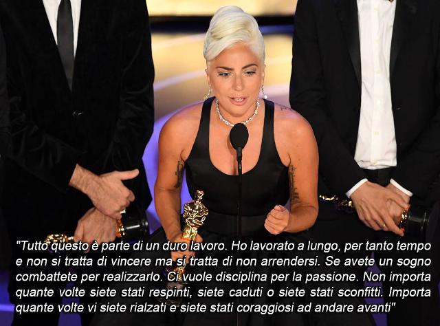 Lady Gaga e il discorso di ringraziamento alla notte degli Oscar