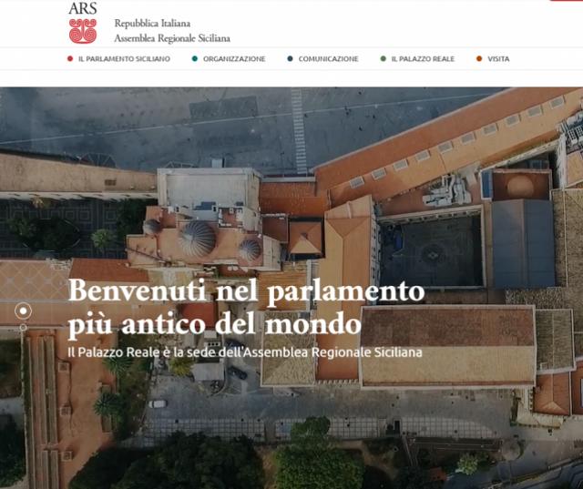 L'home page del nuovo sito dell'Assemblea Regionale Siciliana