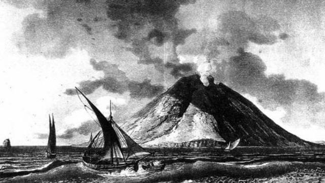 Stampa d'epoca che raffigura l'eruzione dello Stromboli del 1343, l'eruzione che causò un terribile tsunami che arrivò nel golfo di Napoli