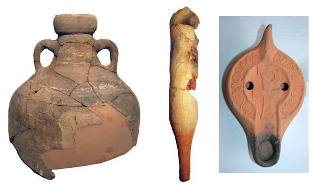 Alcuni reperti della villa conservati nel Museo Civico. Da destra: anfora tipo Keay 57, spatheion e lucerna tipo X