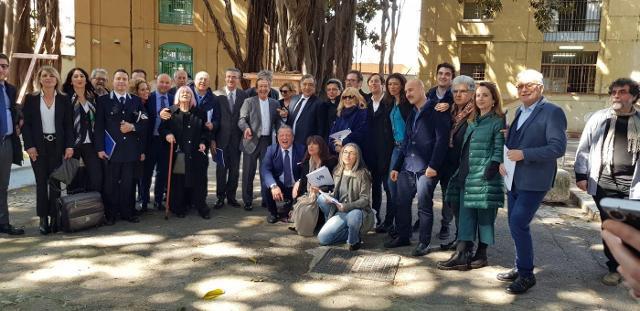 Una foto negli esterni del carcere Ucciardone di Palermo, alla fine della conferenza stampa di presentazione del 395° Festino di Santa Rosalia