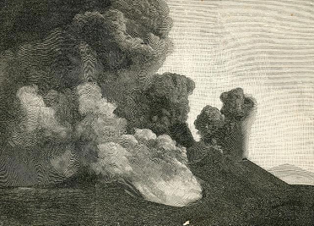 Eruzione dell'Etna 1892: crateri principali visti da nord (incisore anonimo 1892)