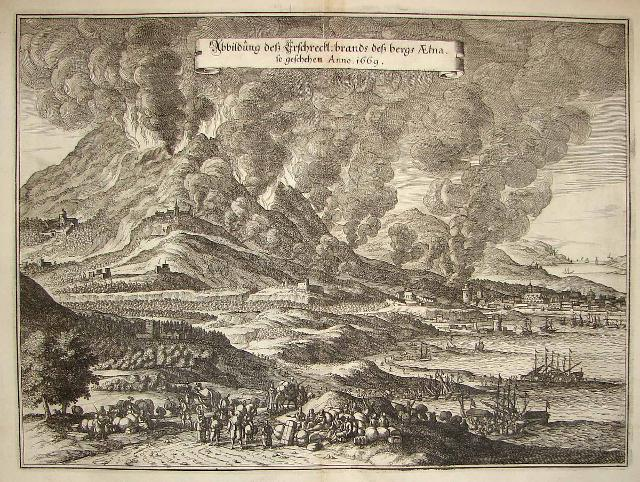 L'eruzione dell'Etna del 1669 in una incisione a bulino su rame attribuita a Matthias Merian il Giovane